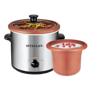 Vitaclay Vs7600-2c 2-in-1 Organic Slow Cooker And Yogurt Maker, Stainless Steel, 2 Quart